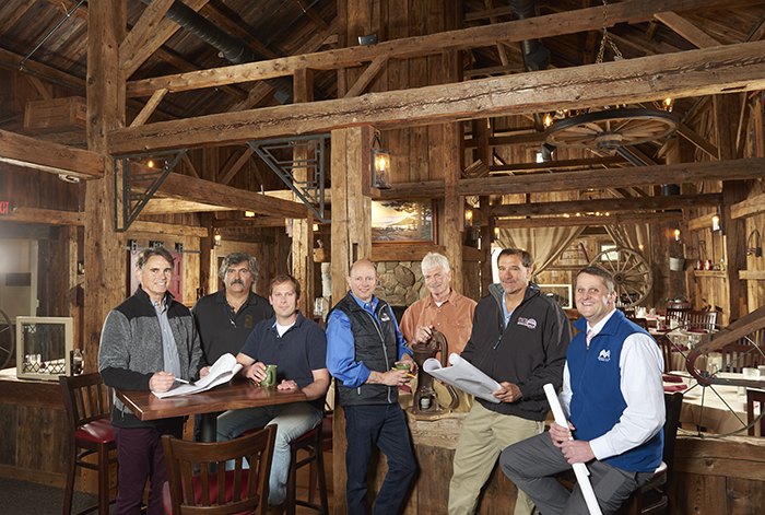 Collaborators include (left to right): Ward D'Elia, Samyn and D'Elia Architects, PA; Chris Maroun, Miracle Farms; Caleb King, Natt King Stoneworks; Greg Branzetti, The New Woodshed; Stephen Coombs, Coombs Historic Restoration; Jeff Downing, Conneston Construction; Marcus Weeks, MVSB.
